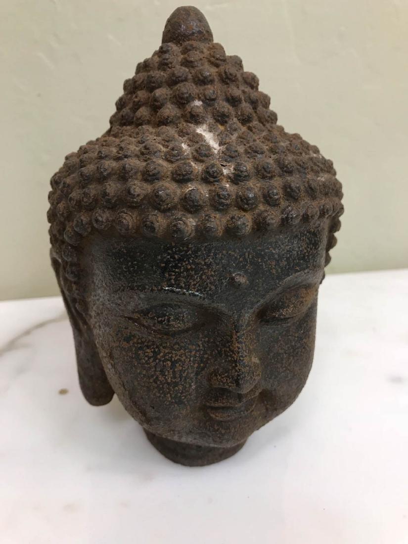 """Vintage Bronze Buddha Head Statue 6""""H - 2"""