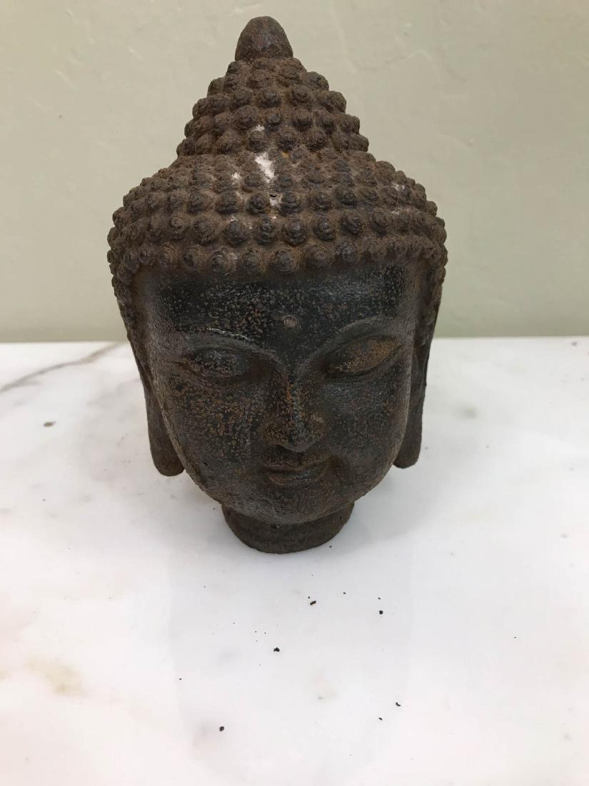 """Vintage Bronze Buddha Head Statue 6""""H - 6"""