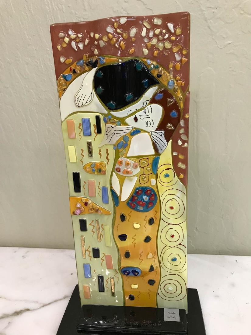 "Mosaic Glass Vase with Gustav Klimt's ""The Kiss"""