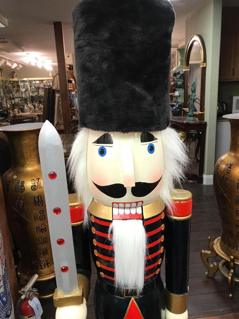 Unique Wooden Nutcracker with Fur Hat, Sword - 2