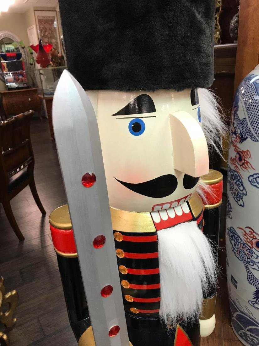 Unique Wooden Nutcracker with Fur Hat, Sword - 9