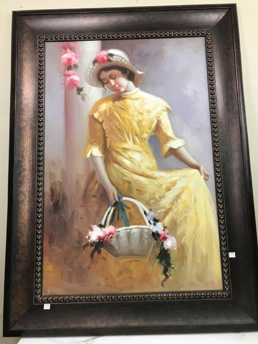 Oil on Canvas Painting of Woman in Yellow Dress