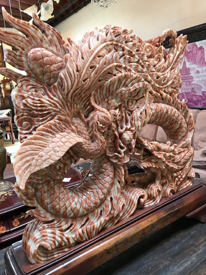 Large Carved Jade Dragon Statue on Wood Stand