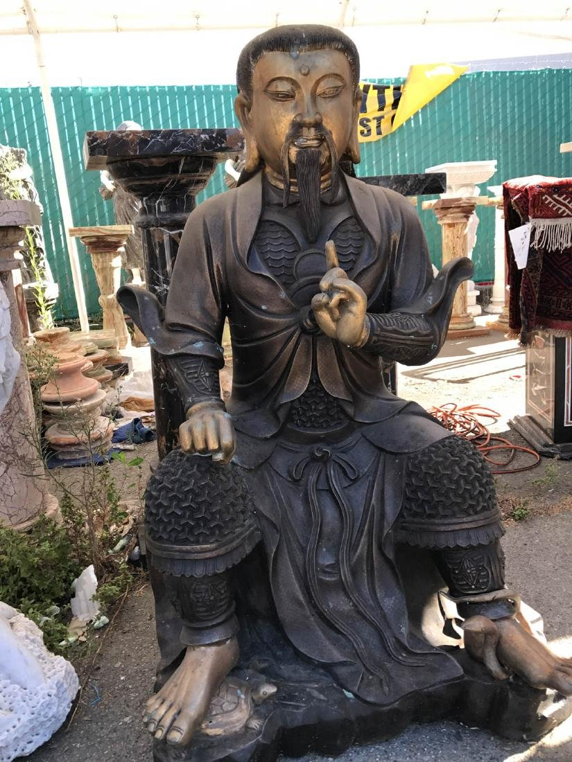 Bronze Statue of Chinese Man Sitting w/ Turtle & Snake
