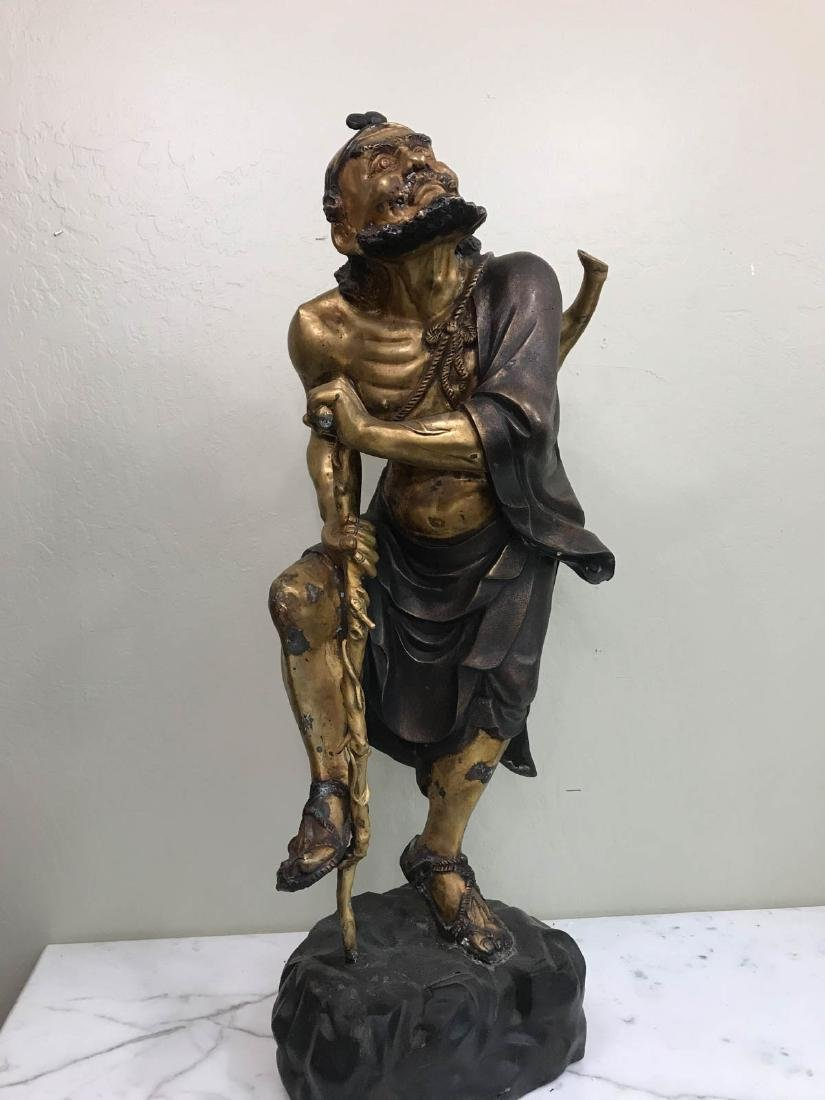 Antique Bronze Statue of Old Traveling Man w/ Cane