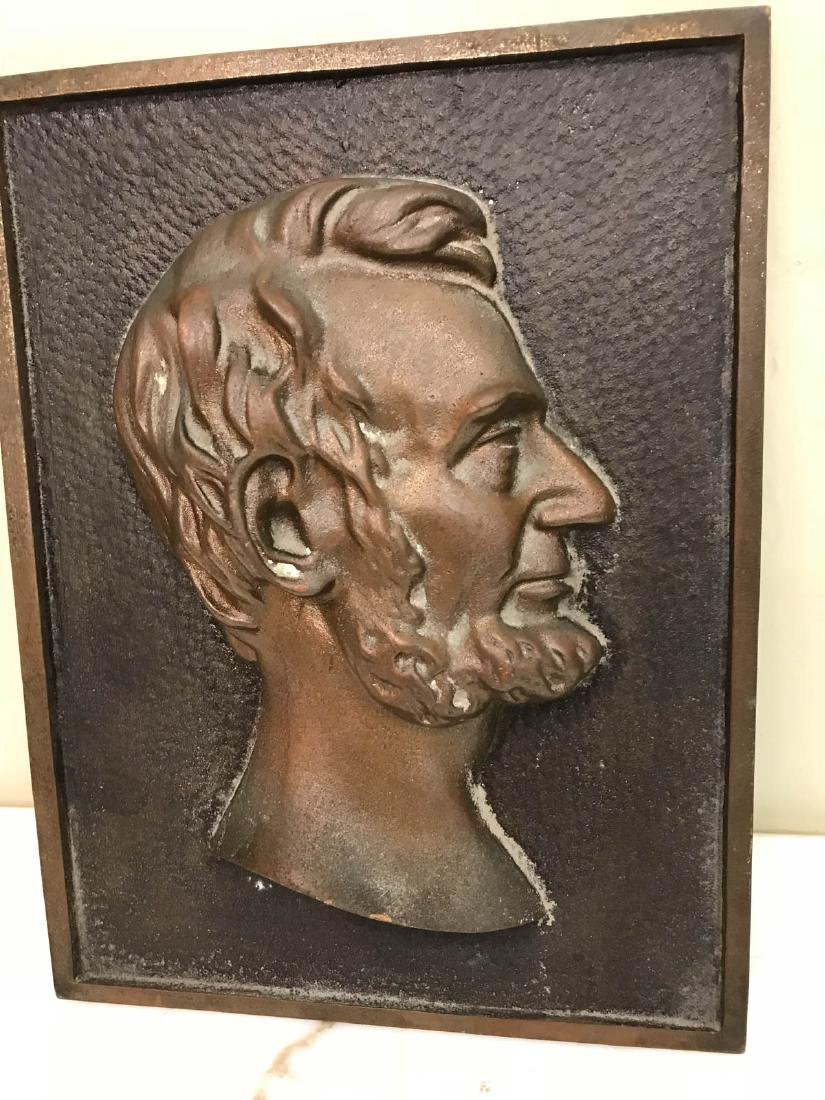 Abraham Lincoln Bronze 3-D Wall Plaque