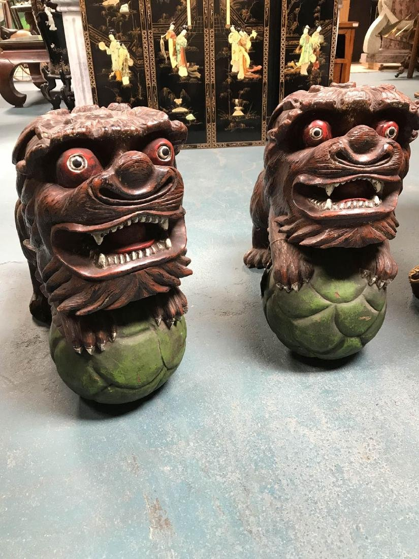 Antique Painted Carved Wood Pair of Foo Dogs
