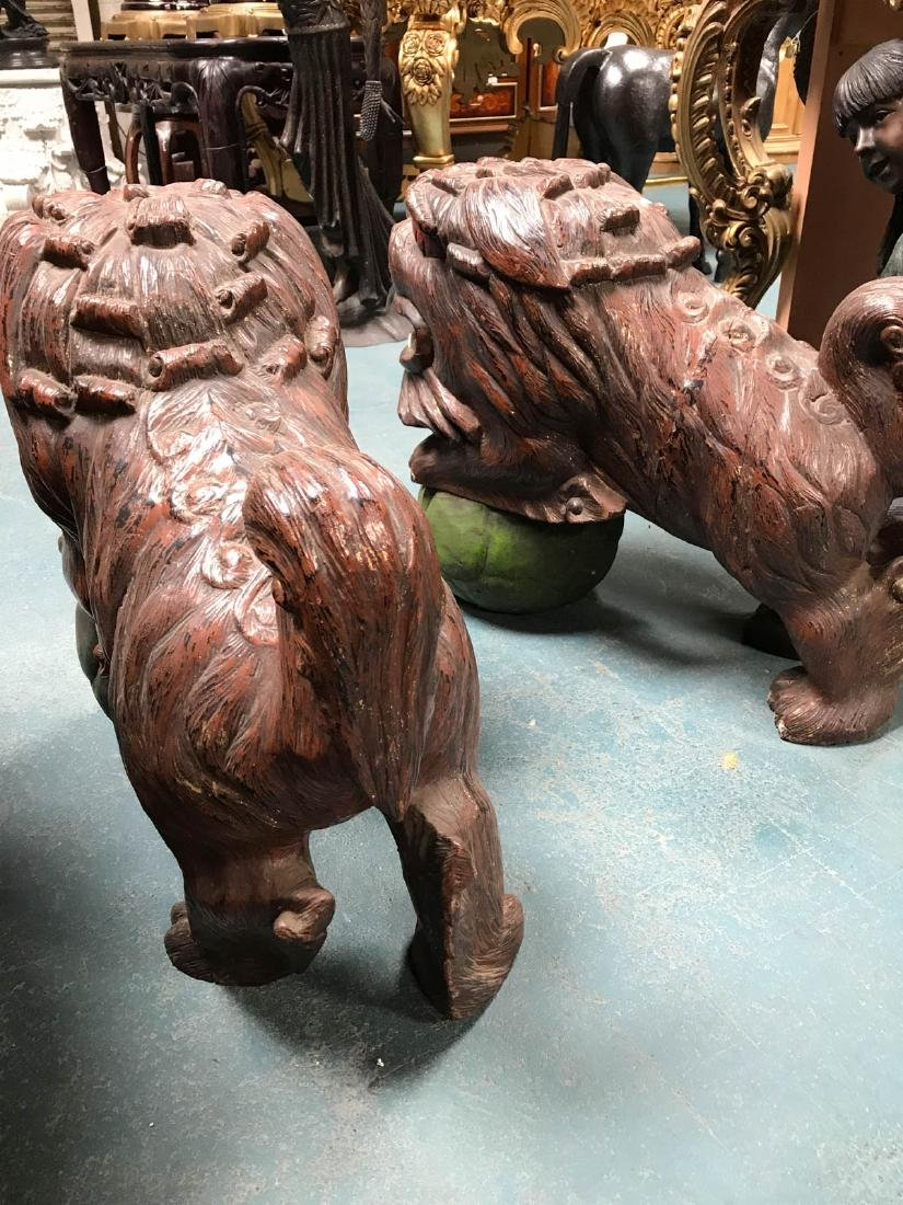 Antique Painted Carved Wood Pair of Foo Dogs - 7