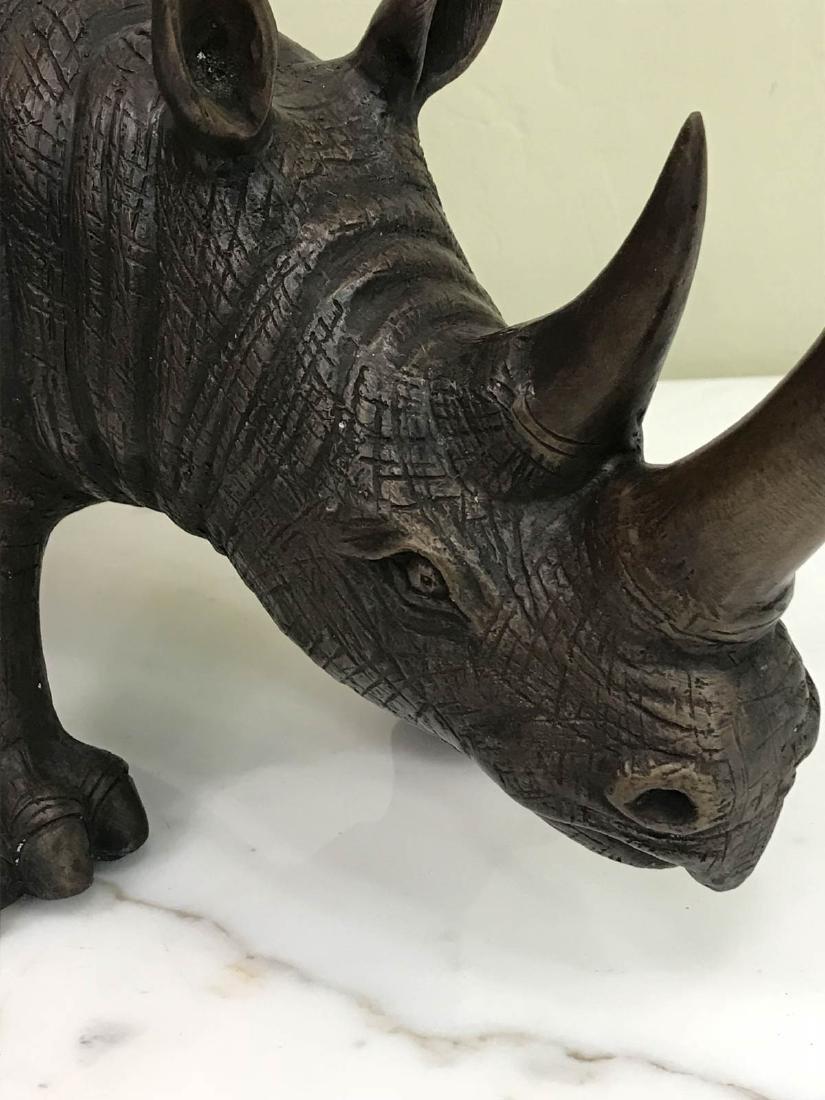 Bronze Rhino Statue w/ Exceptional Details - 5
