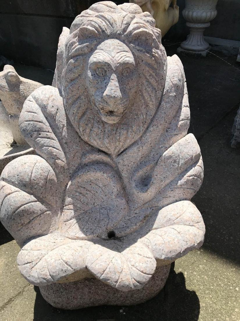 Granite Hand-Carved Lion Head Fountain
