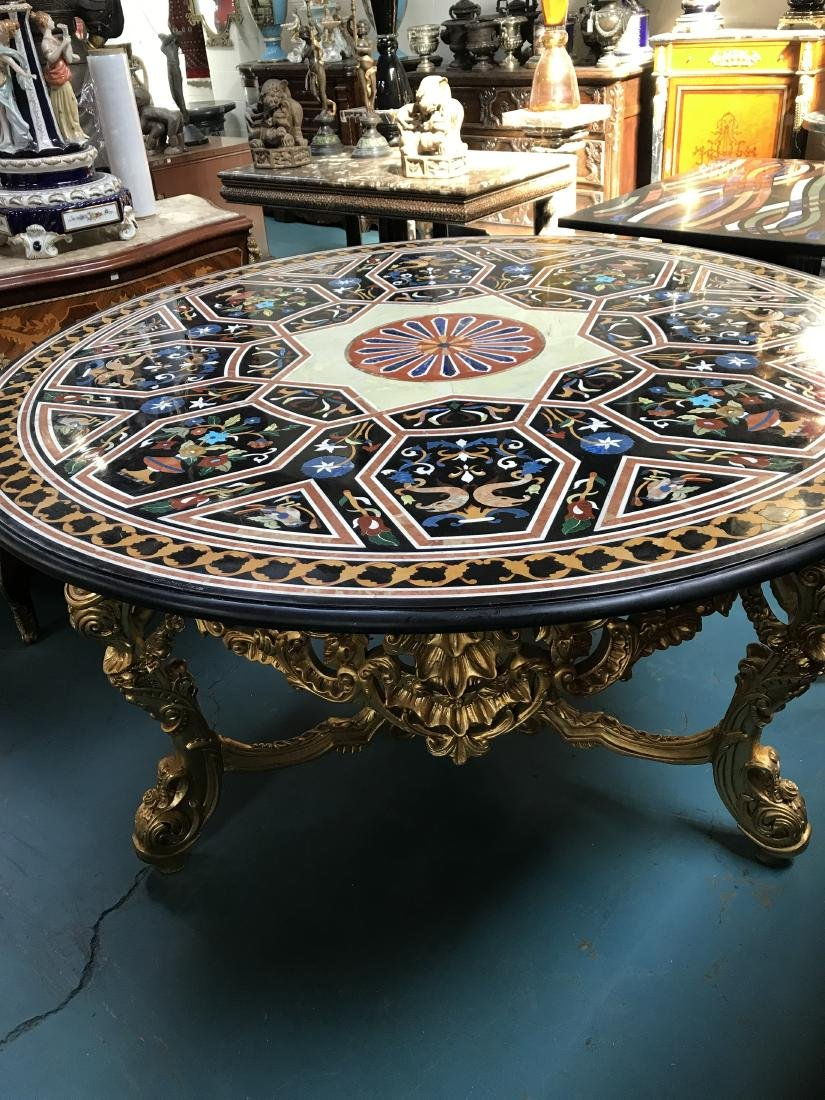 Round Pietra Dura Mosaic Table, Gilded Wood Base