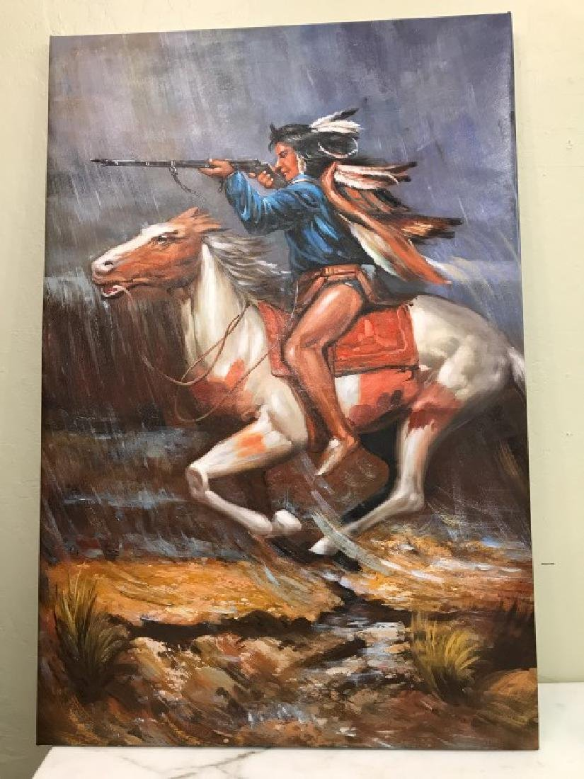 Oil on Canvas of Native American on Horse