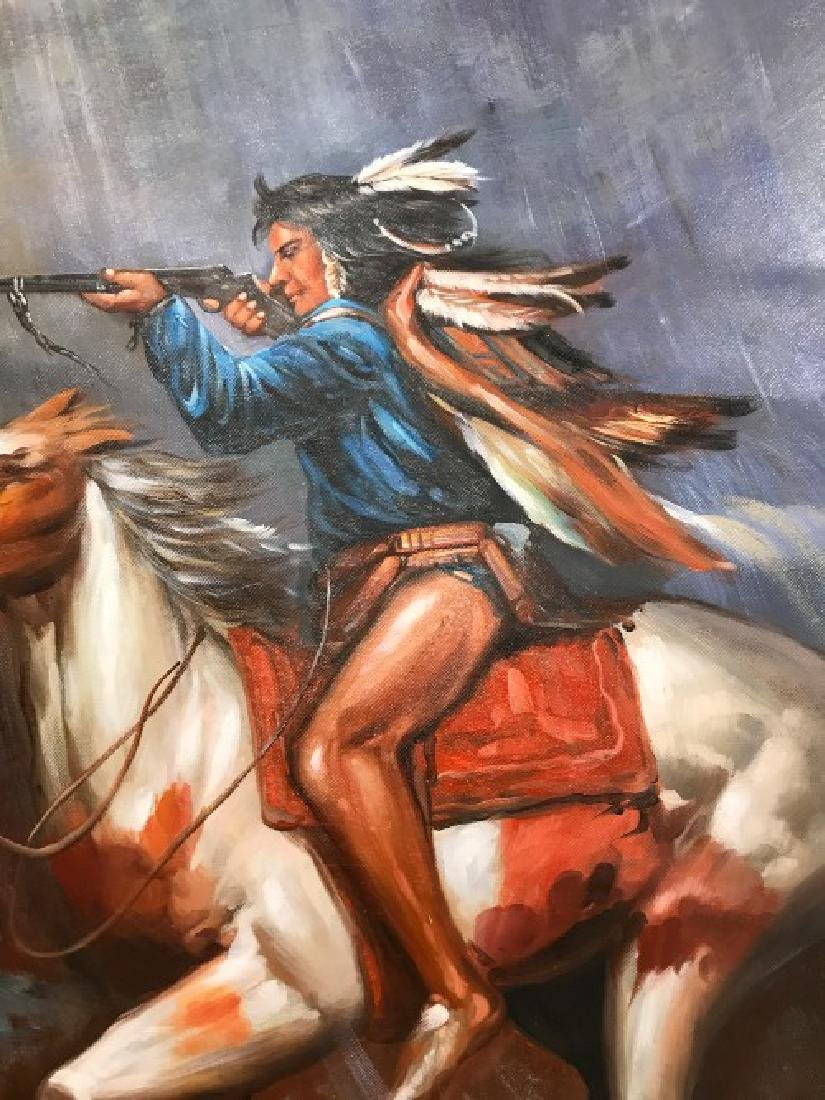 Oil on Canvas of Native American on Horse - 2