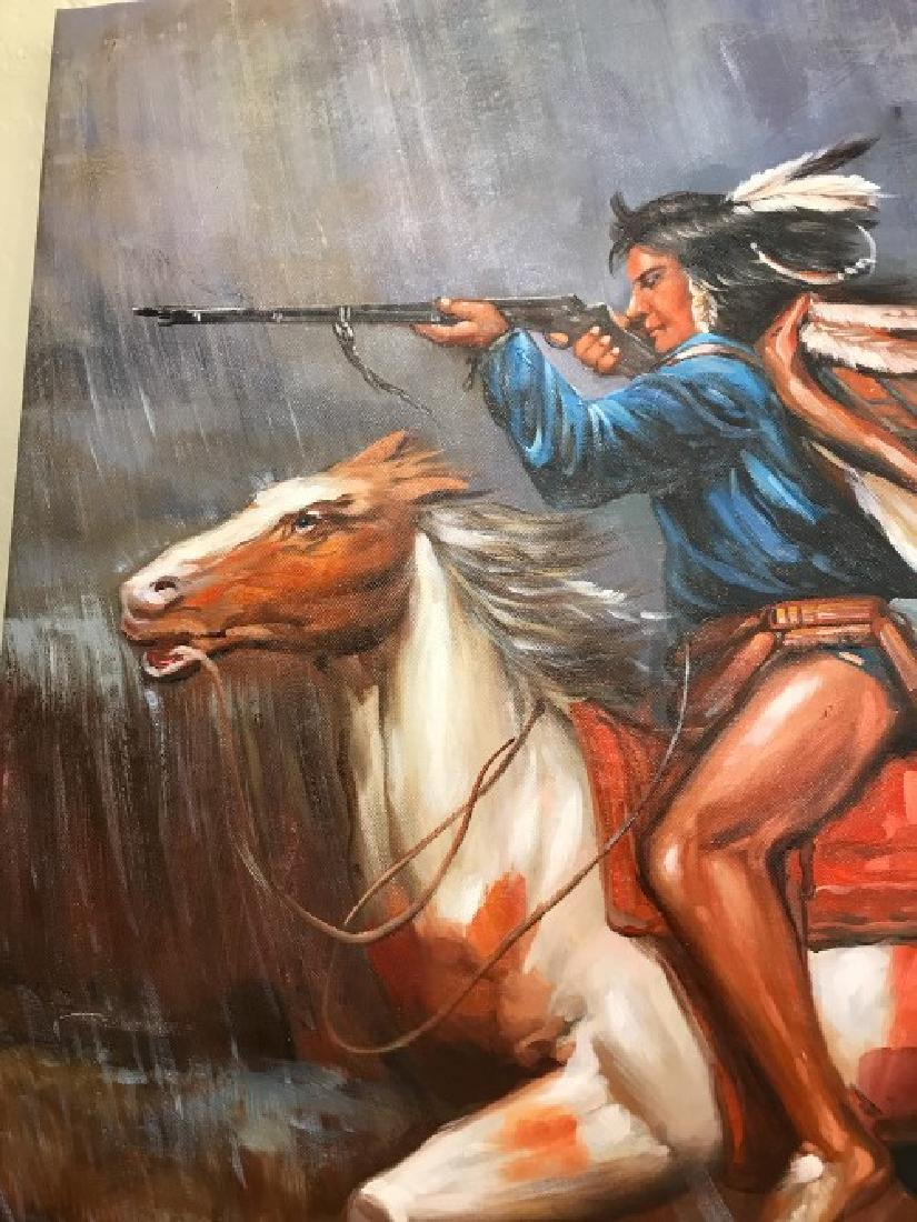 Oil on Canvas of Native American on Horse - 3