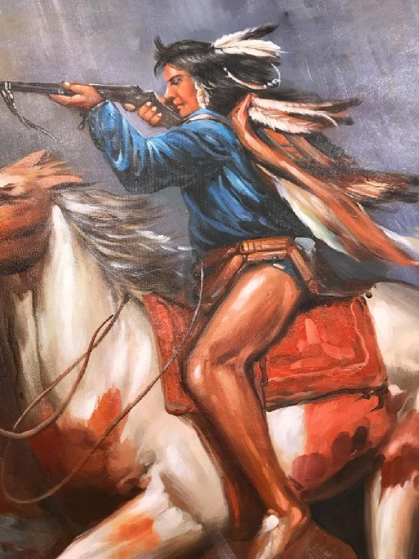 Oil on Canvas of Native American on Horse - 6