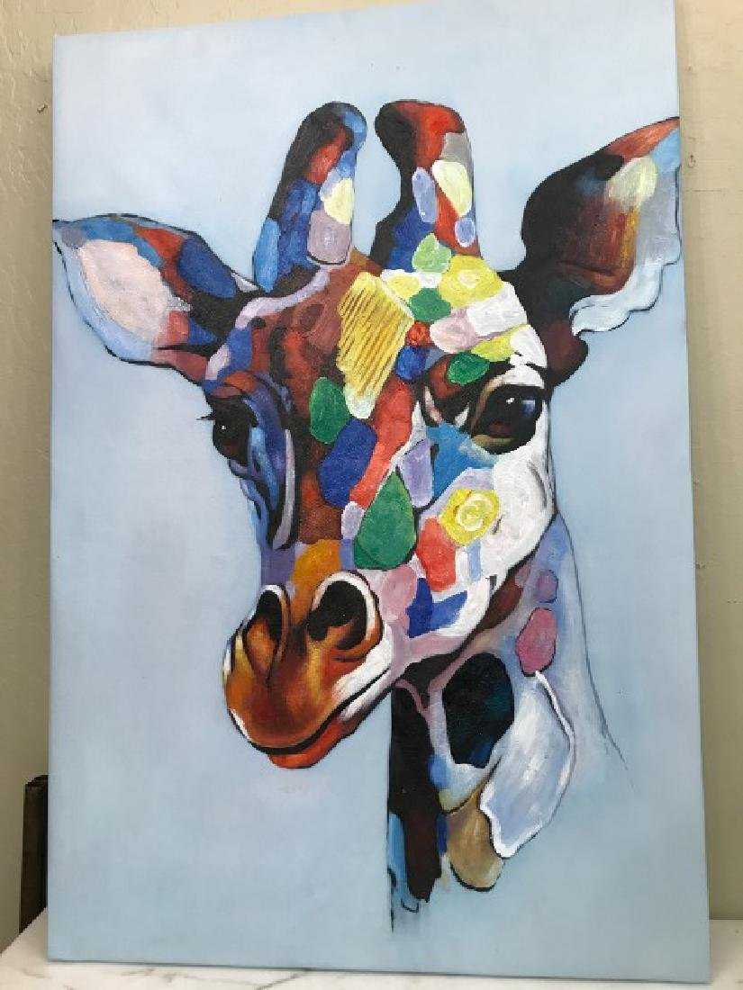 Abstract Oil on Canvas Painting of Giraffe