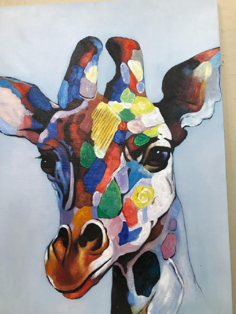 Abstract Oil on Canvas Painting of Giraffe - 2