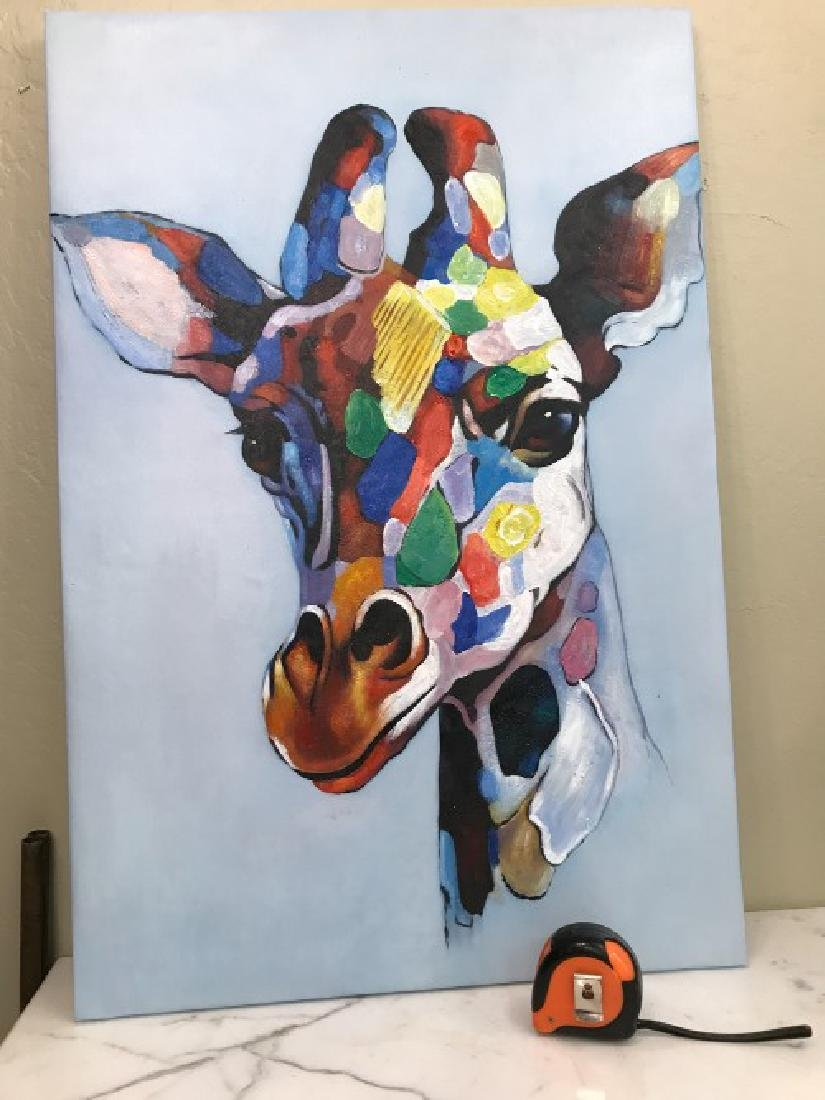 Abstract Oil on Canvas Painting of Giraffe - 4