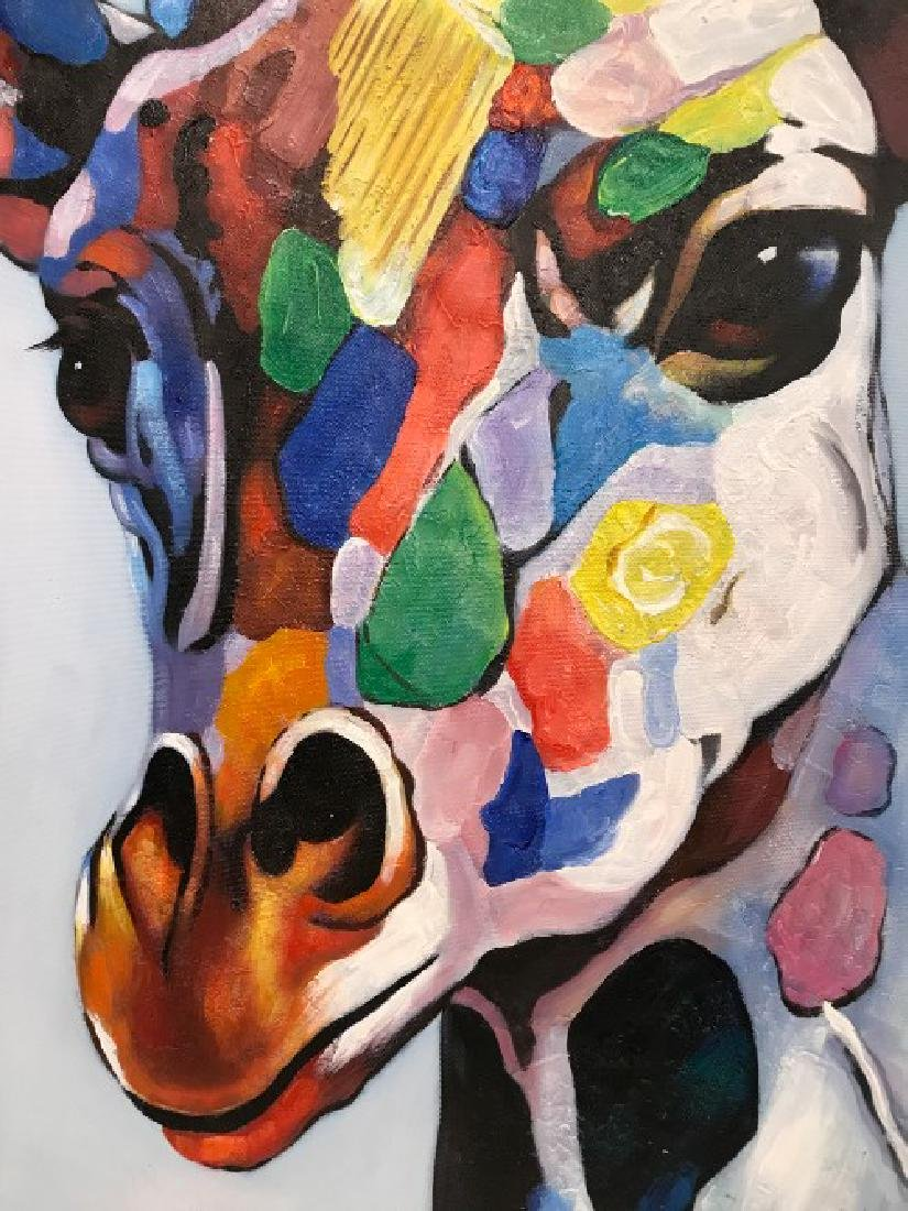 Abstract Oil on Canvas Painting of Giraffe - 5