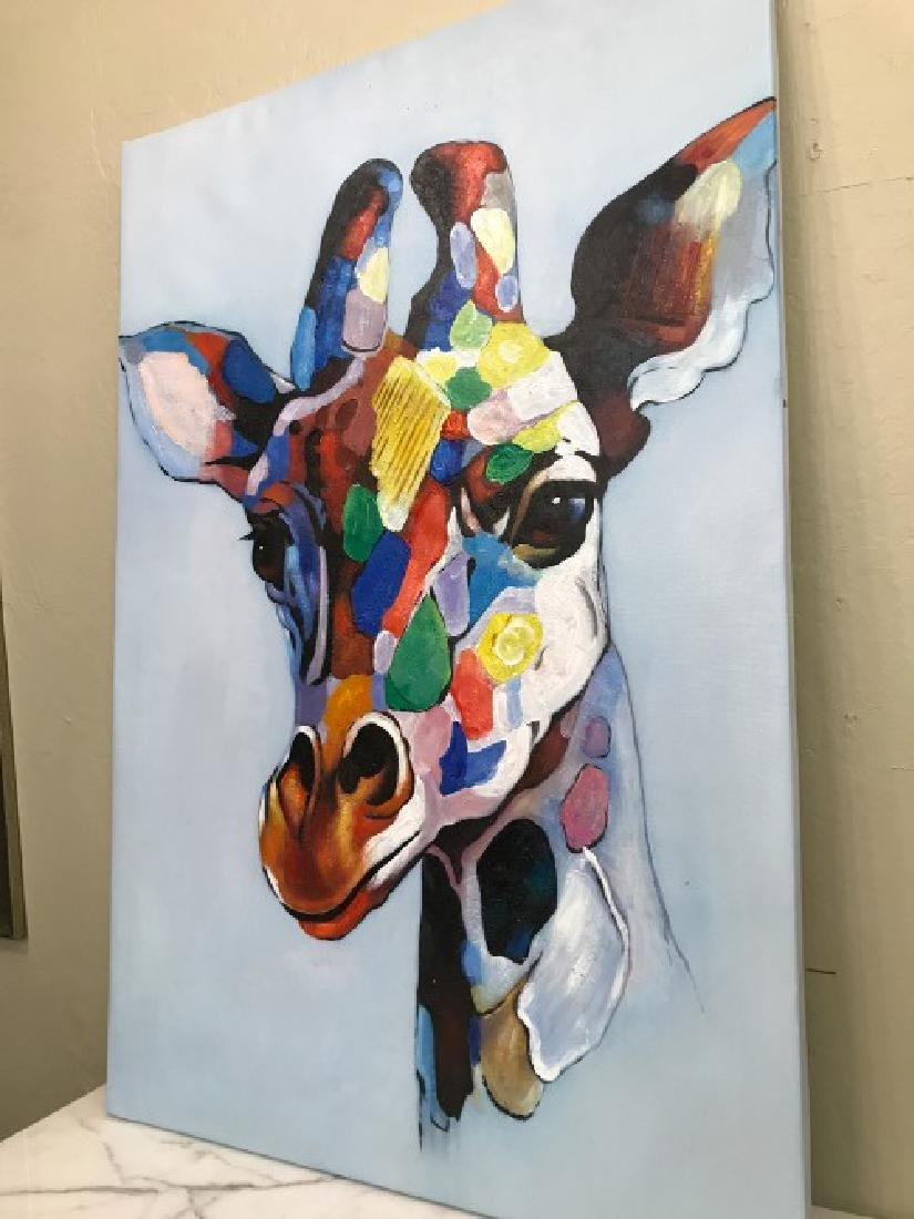 Abstract Oil on Canvas Painting of Giraffe - 7