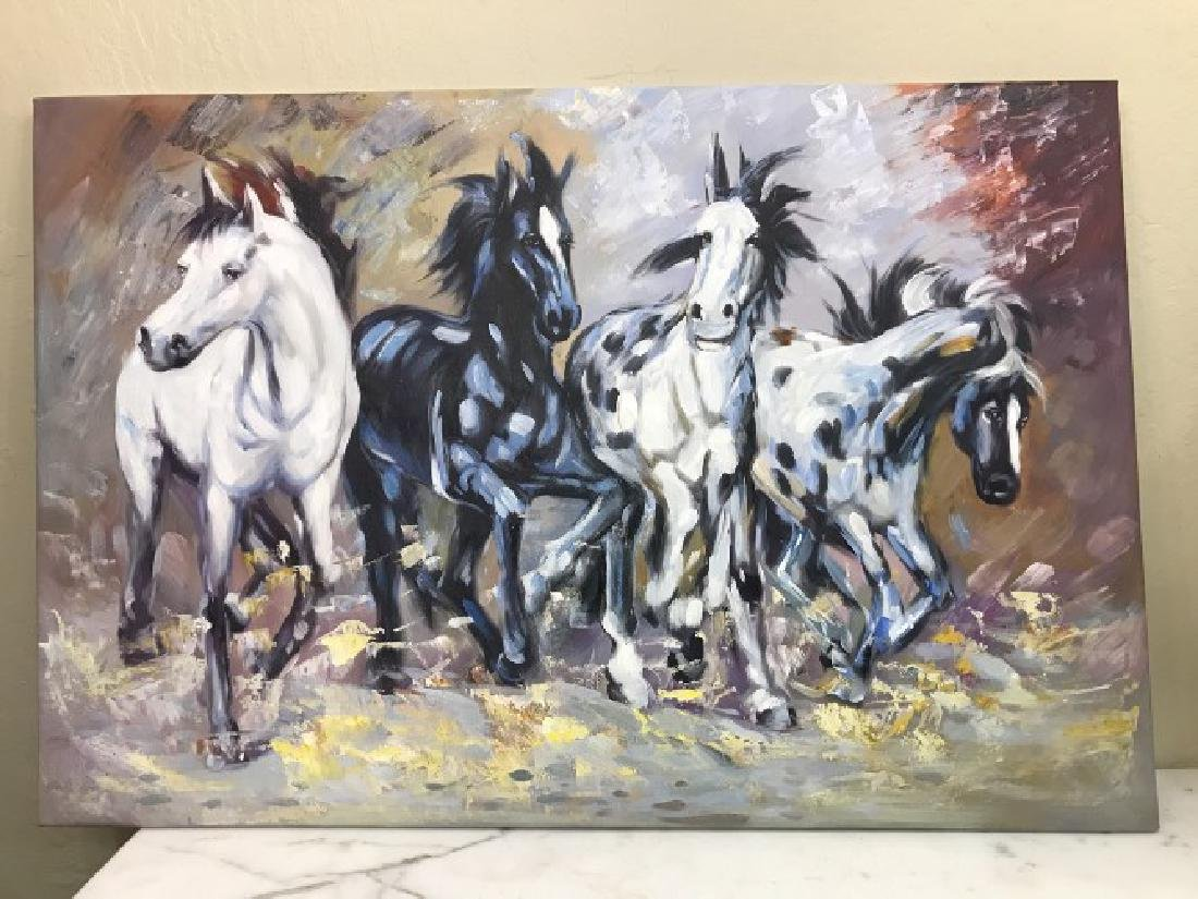 Oil on Canvas of Running Wild Horses