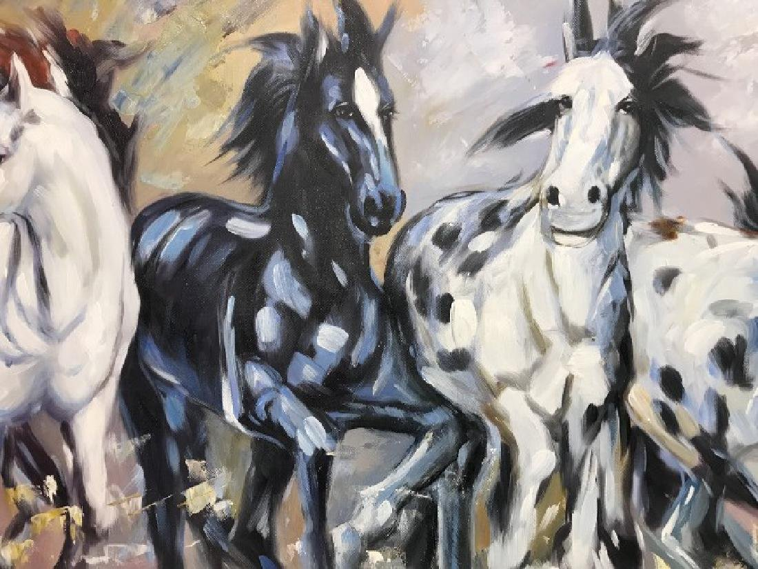 Oil on Canvas of Running Wild Horses - 2