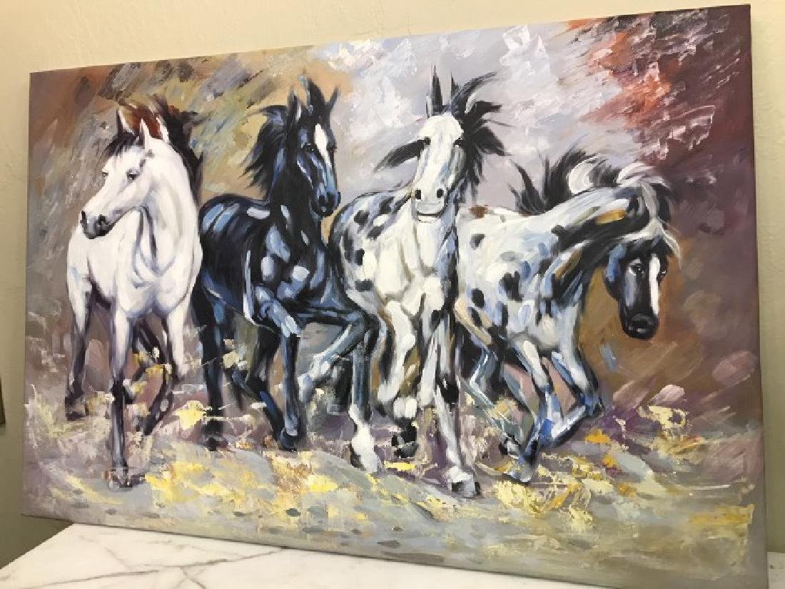 Oil on Canvas of Running Wild Horses - 3
