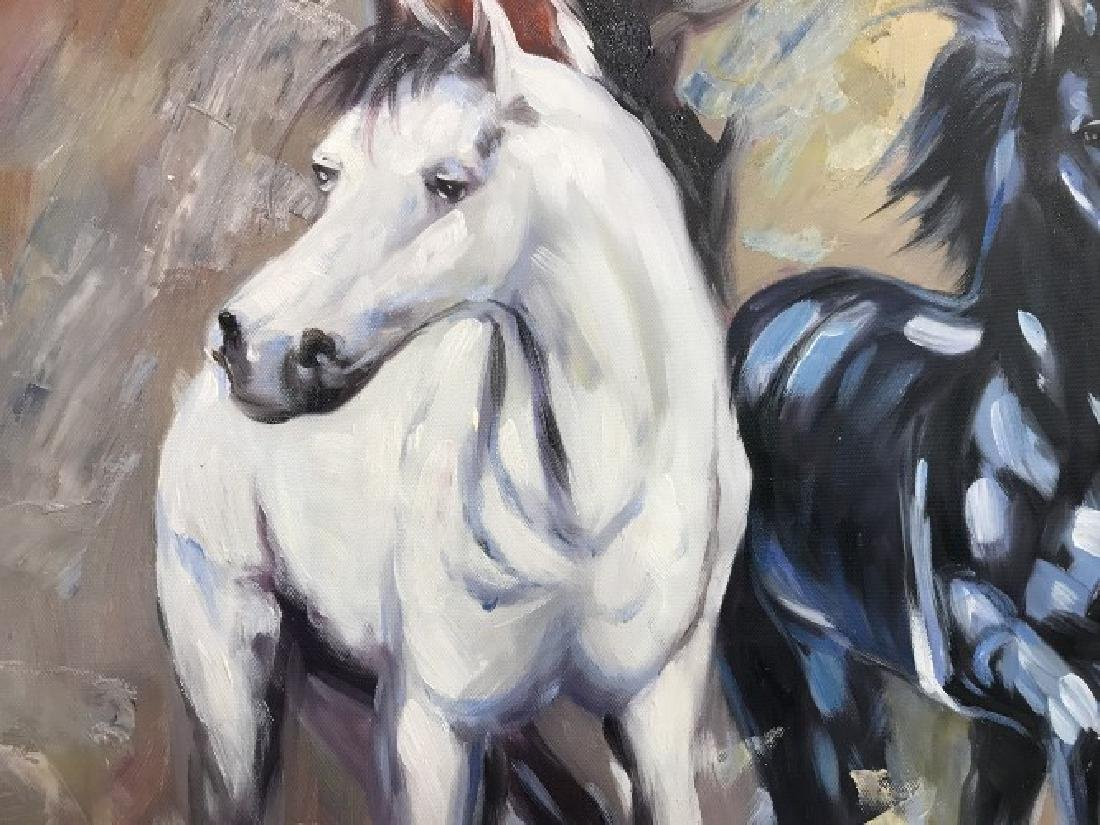 Oil on Canvas of Running Wild Horses - 5