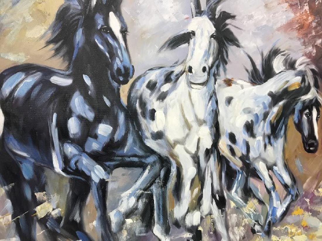 Oil on Canvas of Running Wild Horses - 6
