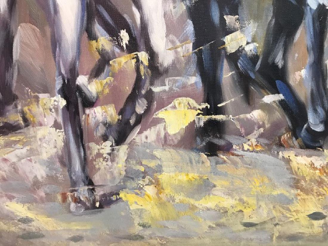 Oil on Canvas of Running Wild Horses - 7
