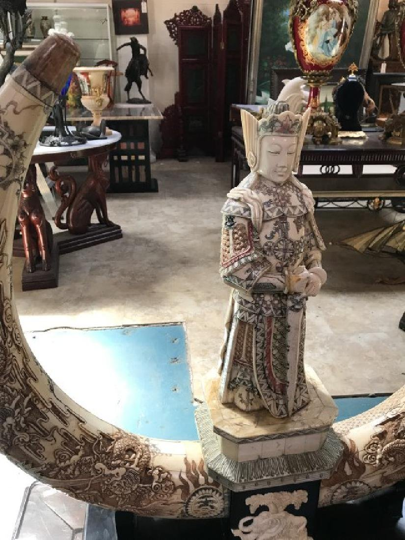 Hand-Carved Bone Statue of Dragon, General - 2