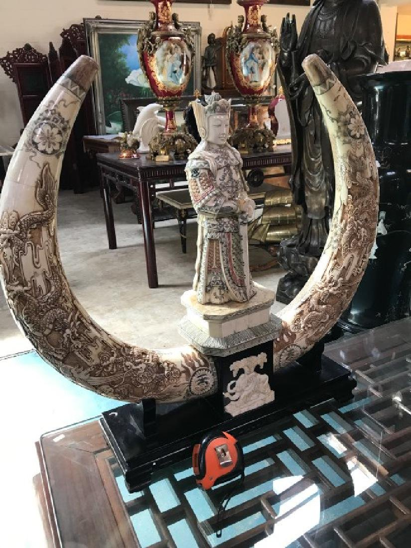 Hand-Carved Bone Statue of Dragon, General - 8