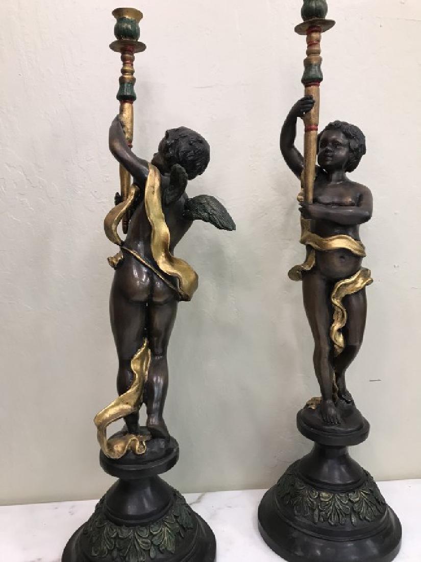 Pair of Bronze Cherub Candlestick Holders - 10