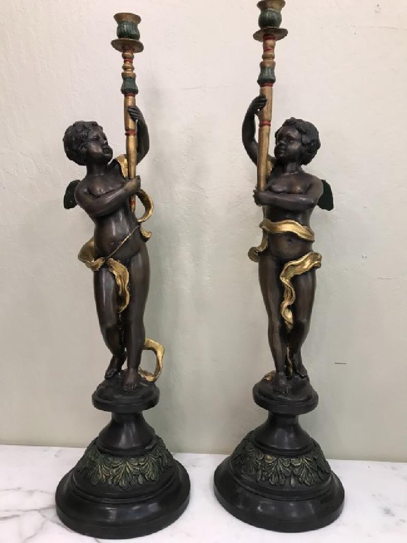 Pair of Bronze Cherub Candlestick Holders