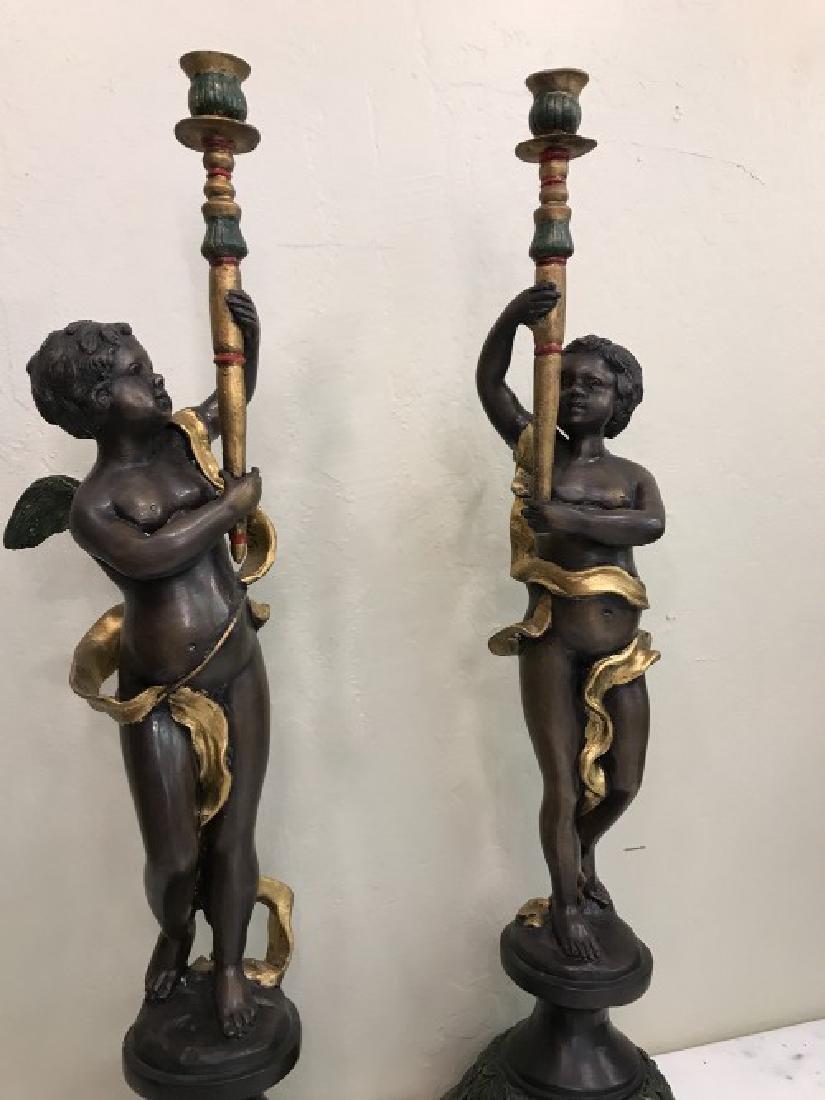 Pair of Bronze Cherub Candlestick Holders - 2