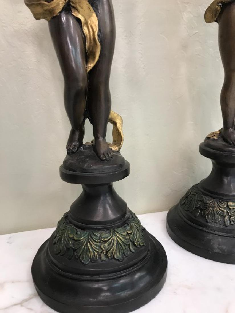Pair of Bronze Cherub Candlestick Holders - 3