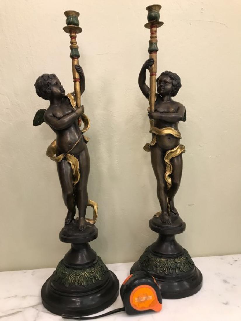 Pair of Bronze Cherub Candlestick Holders - 5