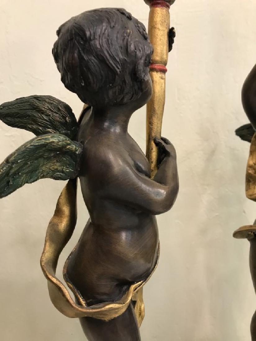 Pair of Bronze Cherub Candlestick Holders - 6