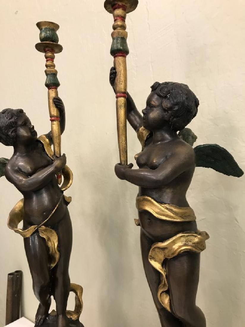 Pair of Bronze Cherub Candlestick Holders - 7