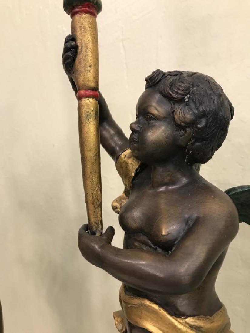 Pair of Bronze Cherub Candlestick Holders - 8