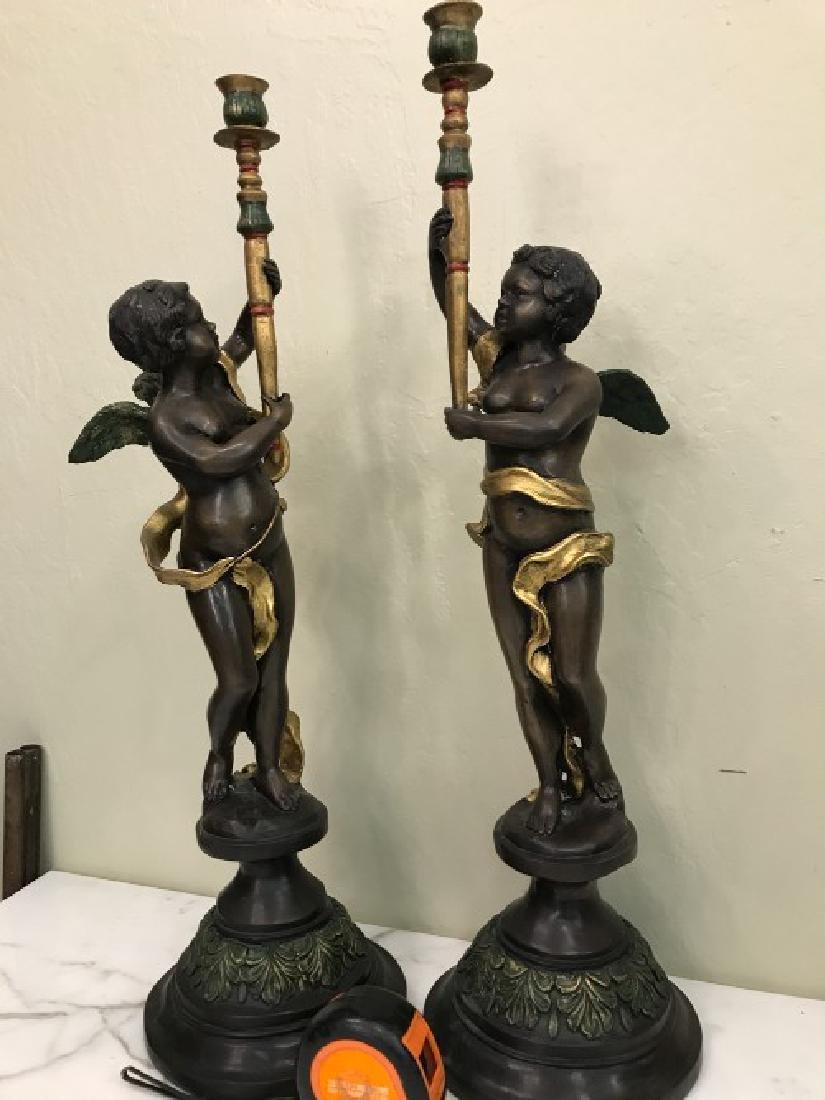 Pair of Bronze Cherub Candlestick Holders - 9