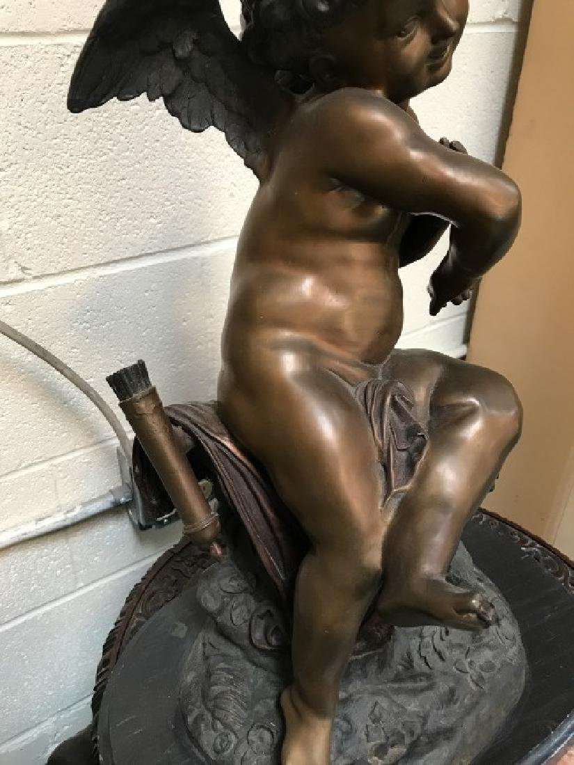 "Bronze ""Seated Cupid"" Statue by Fomile - 4"