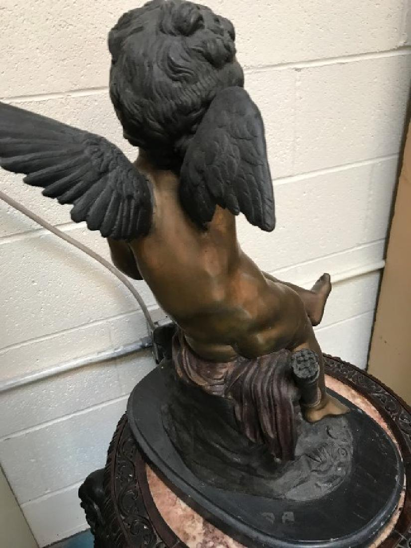 "Bronze ""Seated Cupid"" Statue by Fomile - 5"
