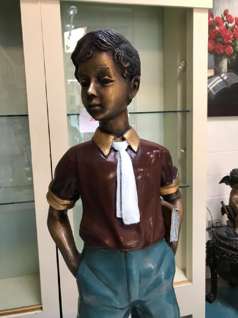 Bronze Statue of Boy w/ Book by Anton Murene - 2