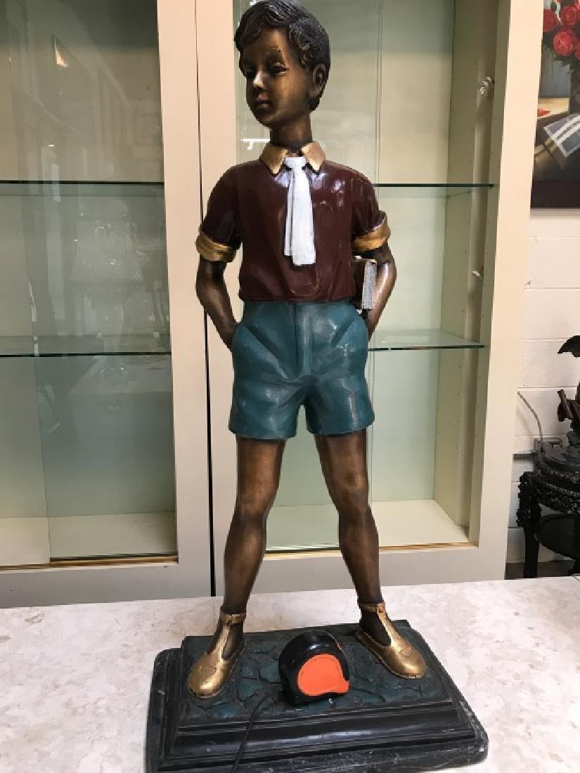 Bronze Statue of Boy w/ Book by Anton Murene - 7