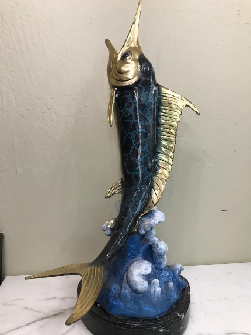 Multi-Patinated Bronze Swordfish Statue