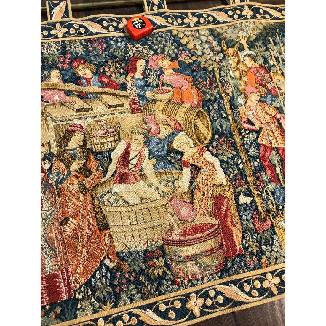 Tapestry with Scene of Medieval Wine Making w/ Rod - 10