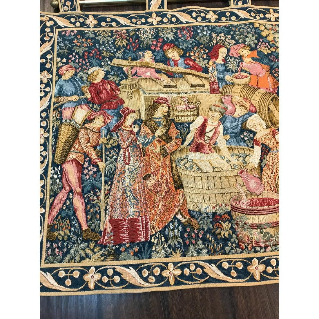 Tapestry with Scene of Medieval Wine Making w/ Rod - 2
