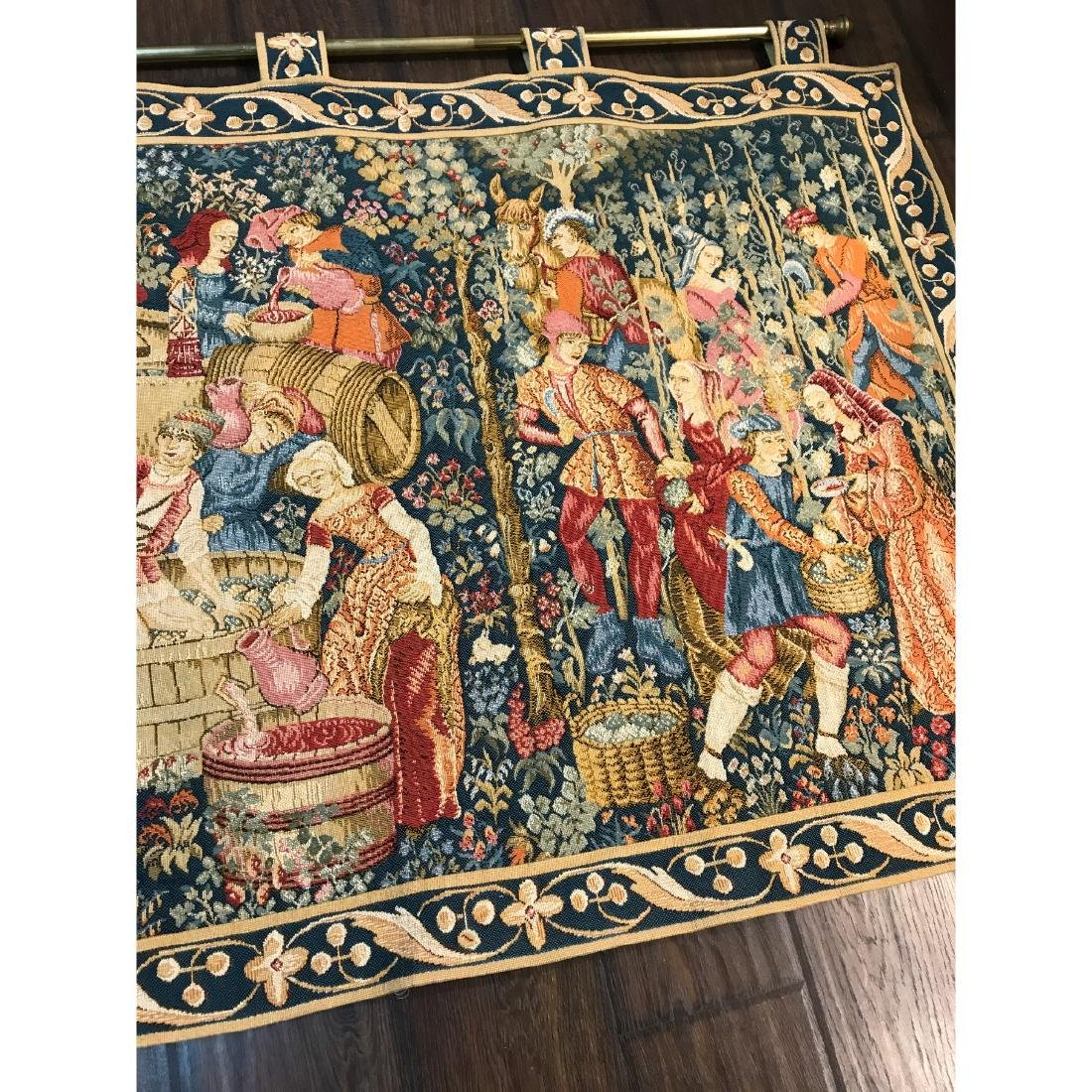 Tapestry with Scene of Medieval Wine Making w/ Rod - 3