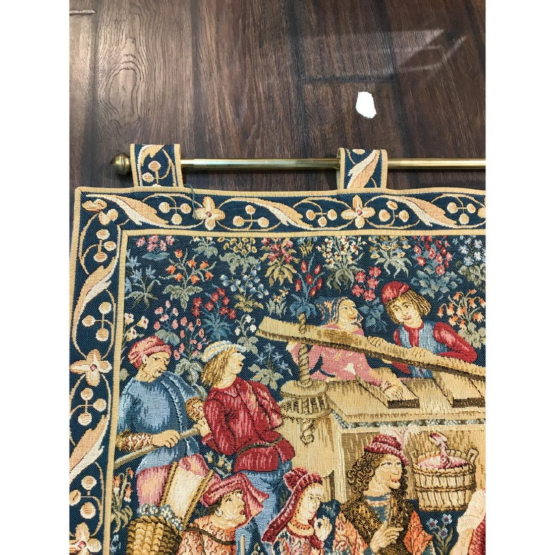 Tapestry with Scene of Medieval Wine Making w/ Rod - 4